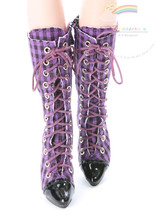 "Releaserain Doll Shoes Knee Sneakers Boots Purple/Blk Ch FIT 16"" Fashion... - $28.70"