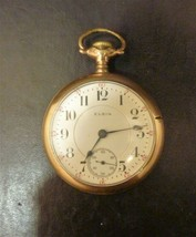 Antique 1908 Elgin 17 Jewels Pocket Watch Size 18s Model 7 Works  - $123.40