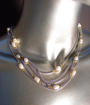 LUXURIOUS Designer 18kt White Gold Plated Box Chains Genuine Pearls Neck... - $59.99