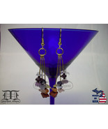 9 Semi-Precious Gemstones Gold Drop Dangle Earrings - Made In U.S.A. - $19.98