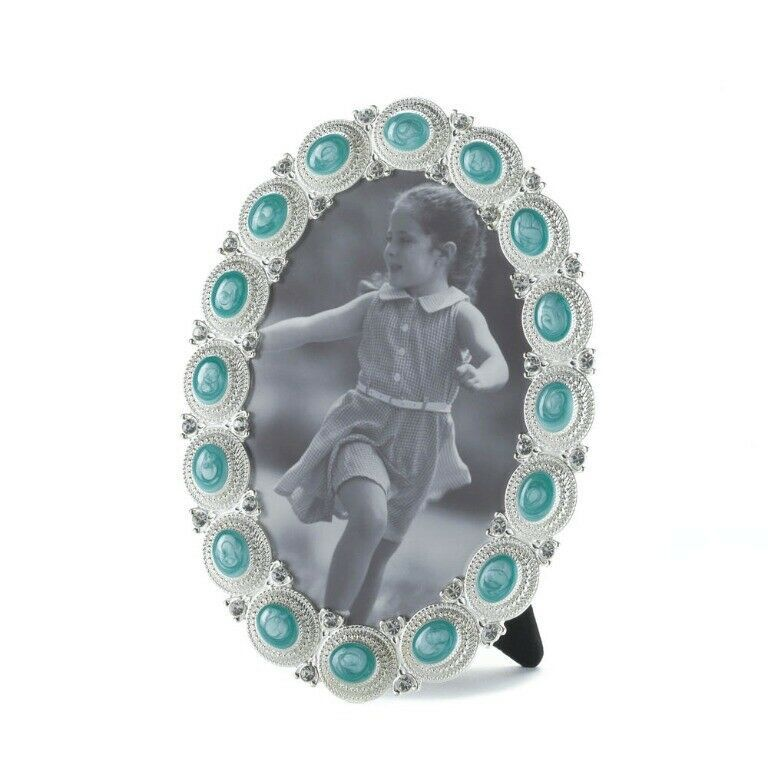 Oval Frame Holds 4 x 6 Photo Easel on Back Sea Colored Cabochon set in a Pewter - $23.45