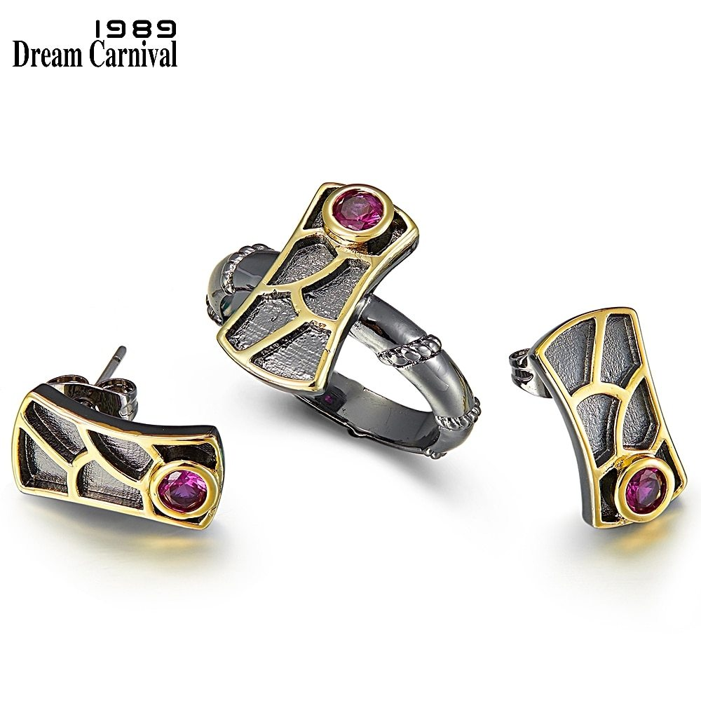 Primary image for DreamCarnival 1989 New Geometric Fish Scale Earrings and Rings Set For Women Red
