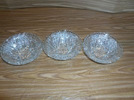 3 Crystal Cut glass Berry - Fruit - Dessert Footed Bowls - $9.06