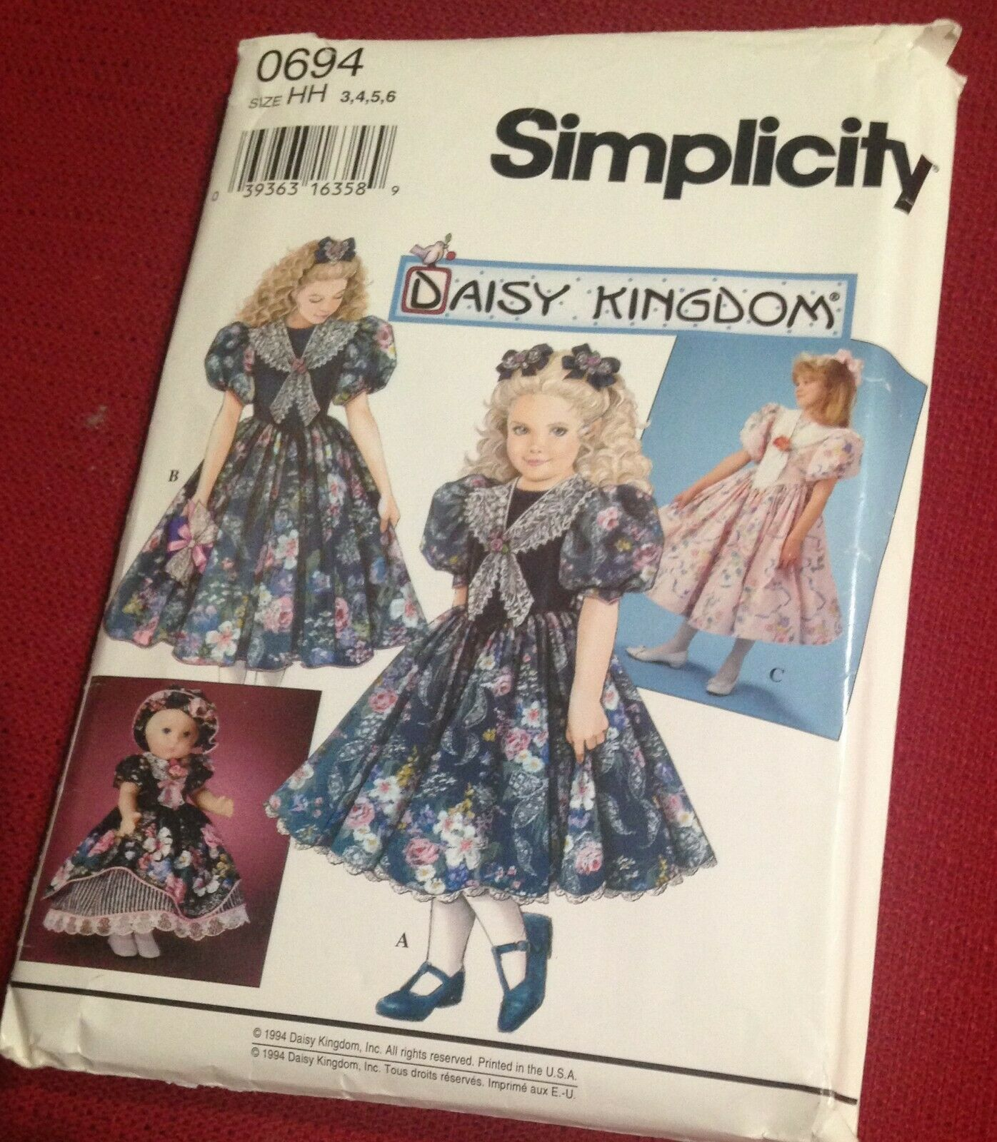 """SIMPLICITY-PATTERN-0694-DRESSES-GIRLS-SIZES-8-10-12-14-18-034 and 17"""" DOLL"""