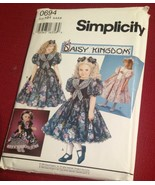 "SIMPLICITY-PATTERN-0694-DRESSES-GIRLS-SIZES-8-10-12-14-18-034 and 17"" DOLL - $4.89"