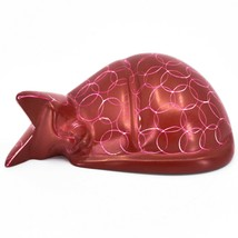 Vaneal Group Hand Carved Kisii Soapstone Red Sleeping Cat Figurine Made in Kenya