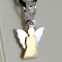 18K Yellow And White Gold Pendant With Stylized Guardian Angel Made In Italy - $100.89
