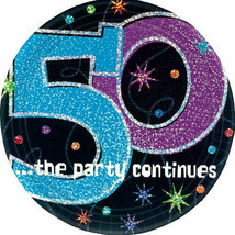 Party Continues 50th BIRTHDAY SMALL ( 9in) PLATES (8) - Party Supplies - $6.52