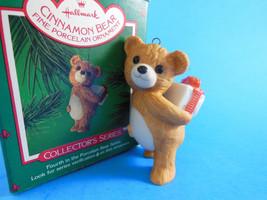 Vintage 1986 Cinnamon Bear #4 In The Porcelain Hallmark Christmas Ornament coll. - $5.93