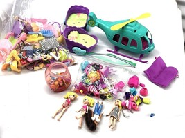 Poly Pocket LOT --2 POUNDS of Accessories With Helicopter & 4 dolls - $36.99