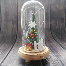 Christmas Tree Glass Dome Bell Jar with Fairy LED String Light Figurines - $20.70