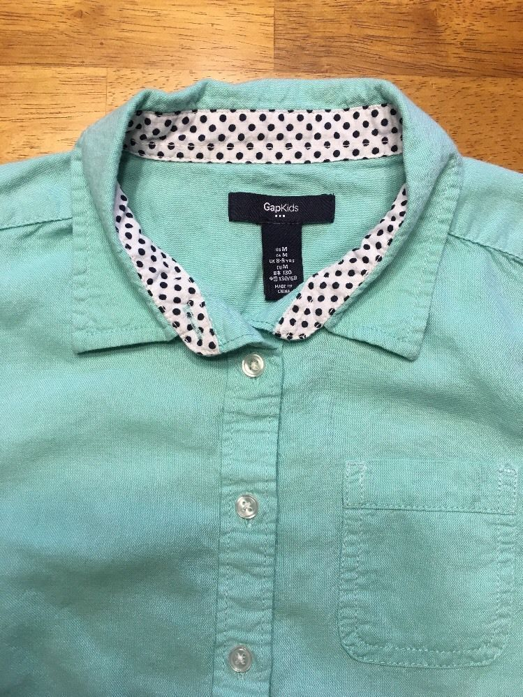 Gap Kids Girl's Teal Long Sleeve Dress Shirt - Size: Medium image 4