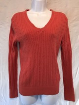 Tommy Hilfiger LS Orange Sweater Cable Knit Pull Over V Neck Cotton Size... - £10.23 GBP