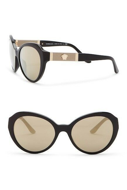 Primary image for NEW AUTHENTIC VERSACE Cat Eye Sunglasses Black/Gold Mirror VE4306-Q GB1/5A