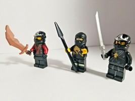 Lego Lot of 3 NINJAGO MINIFIGURE RED Warriors Ninja Guys Weapon Sword Bl... - $18.04