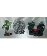 Lot (3) DRAGON Figurine Collectibles incl. Tea/Oil Light, Imaginarium Ga... - $19.50