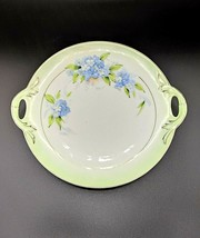 PT Tirschenreuth Bavaria Hand Painted Cake Plate Signed Rosch Blue Flora... - $44.95