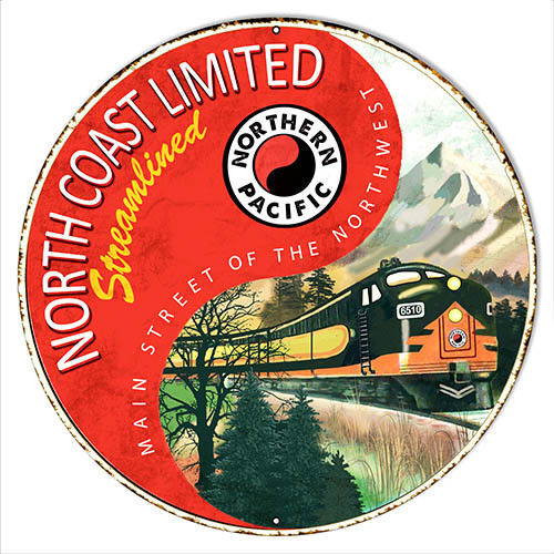 Northern Pacific Reproduction Railroad Metal Sign 18x18 Round