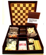 Wooden Game Set Backgammon Chess Cribbage Dominoes Checkers 12 x 12 inches - $64.34