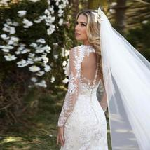Lace Appliqued Long Sleeved Customized V Neck Zip Chain Back Mermaid Bridal Gown image 2