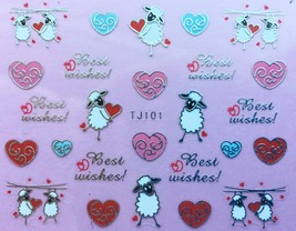BANG STORE Nail Art 3D Decal Stickers Valentine's Day Best Wishes Sheep Hearts  - $3.67