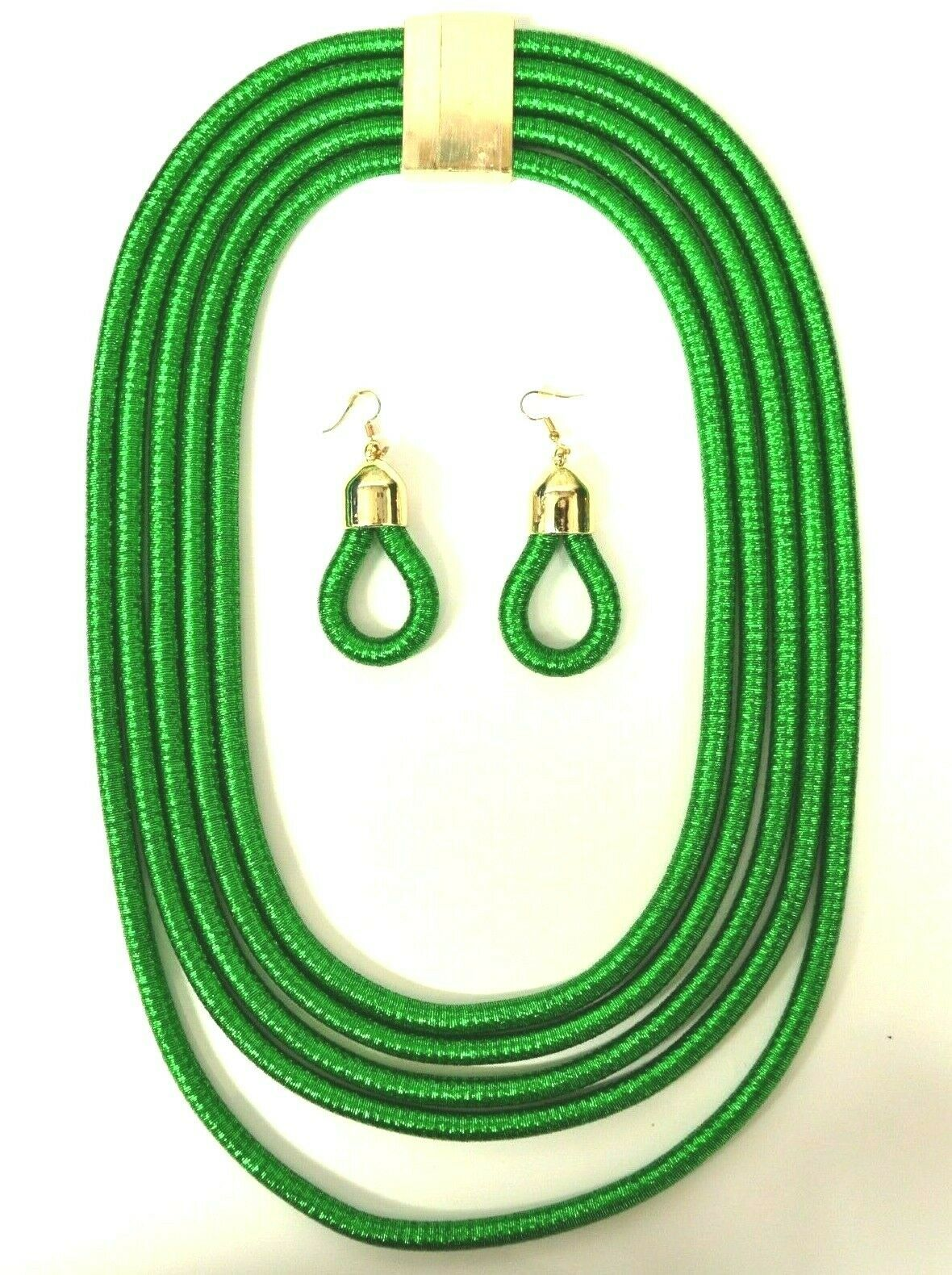 Primary image for STATEMENT BOHO CHUNKY COIL ROPE MULTI LAYER MAGNETIC NECKLACE EARRING SET GREEN