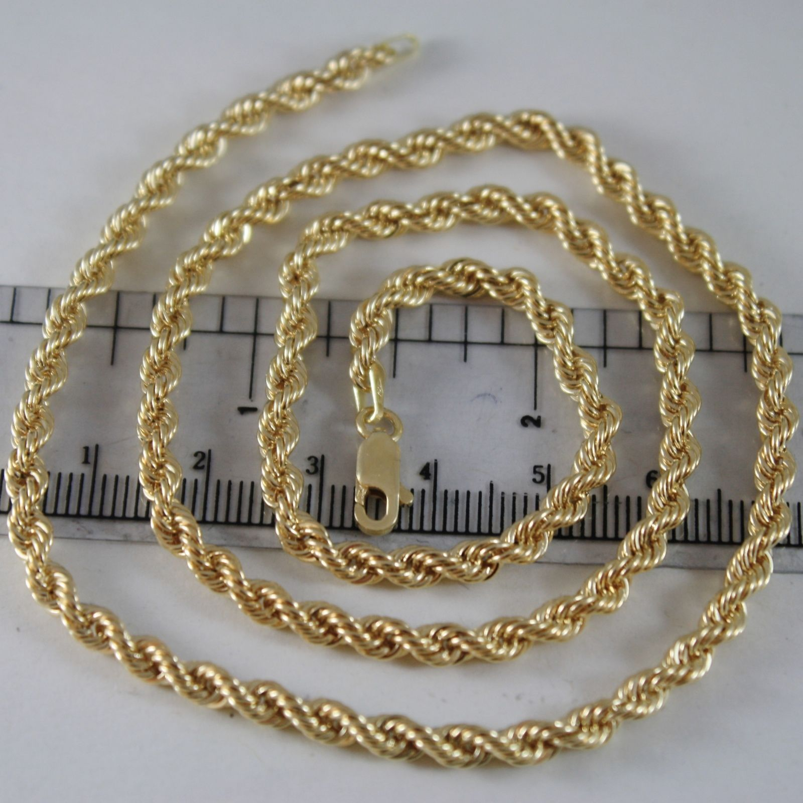 18K YELLOW GOLD CHAIN NECKLACE 4 MM BIG BRAID ROPE LINK 19.70 IN. MADE IN ITALY