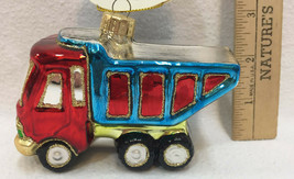 Dump Truck Glass Ornaments Colorful Christmas Holiday Red Blue Silver Gl... - $14.84