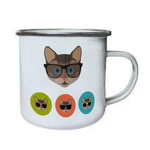 Smart Cat Head Spectacles Cat Lovers Novelty Retro,Tin, Enamel 10oz Mug ... - $13.13