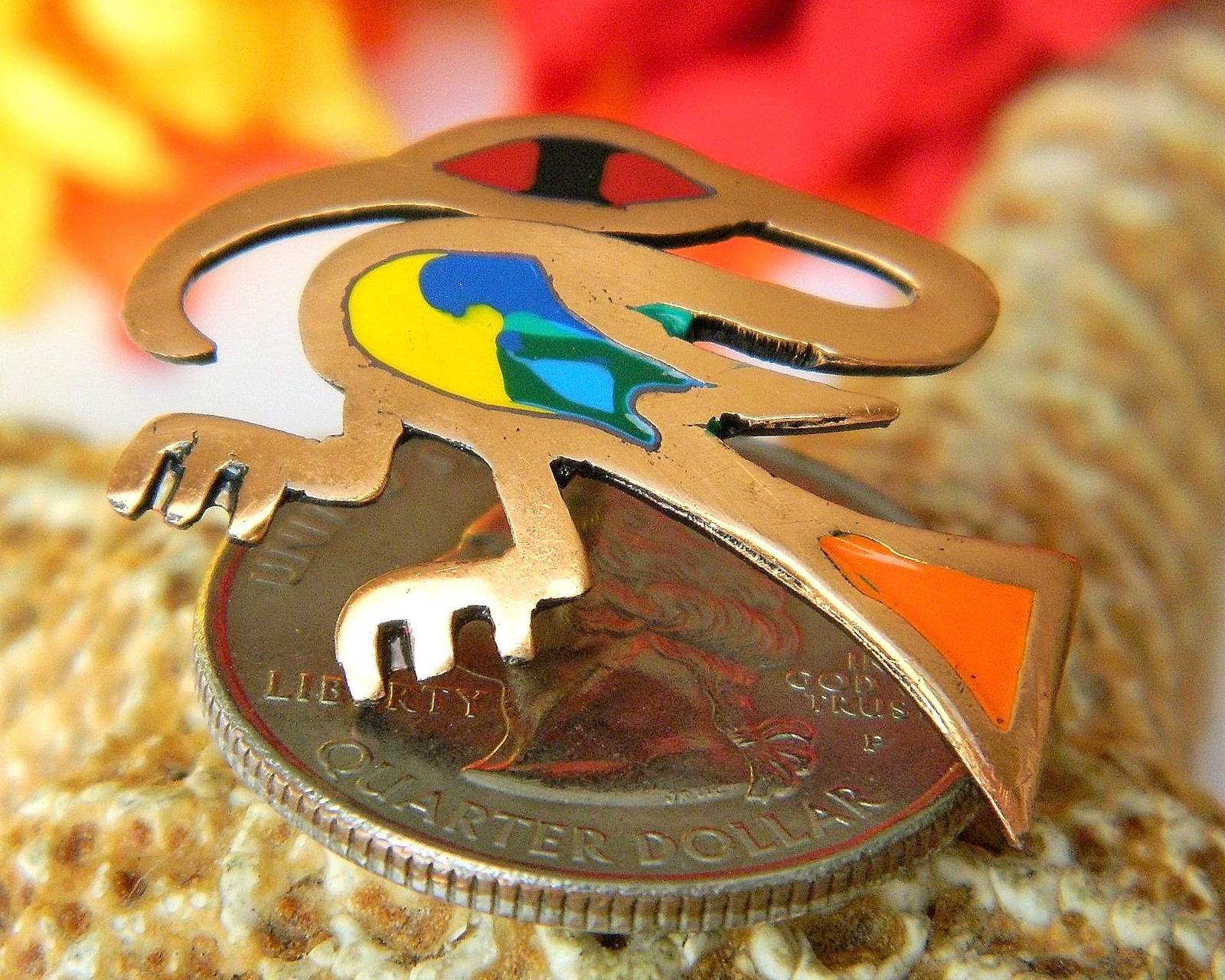 Vintage Bird Colorful Enamel Copper Abstract Lapel Pin South America