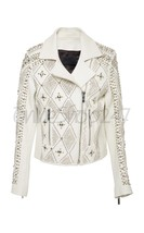 New Women Nour Hammour White Full Silver Metallic Unique Design Leather Jacket - $329.99