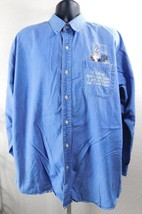 Warner Bros. Bugs Bunny Men's Blue Denim Embroidered Button Down Shirt Size: L