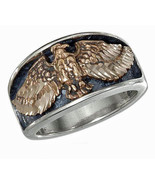 STERLING SILVER MENS BRONZE EAGLE WITH SPREAD WINGS BAND RING - $64.50