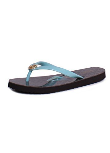 MICHAEL Michael Kors Women's Shiny Flip Flop Icy Turquoise / Brown (6)