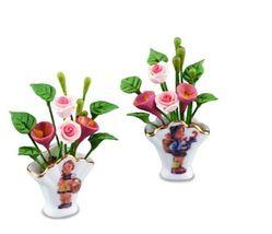 M I Hummel Flower Vase Set 1.616/6 Reutter Porcelain DOLLHOUSE Miniature - $25.80