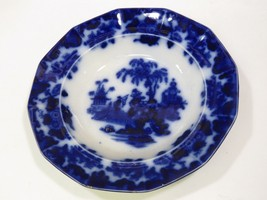 Alcott Flow Blue Scinde Pattern Oriental Rimmed Soup Bowl 10½ inches - $84.15