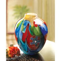 Floral Fantasia Art Glass Hand Crafted Jug Vase - $77.95