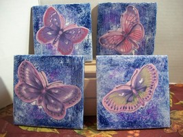 Purple Butterfly Drink Coasters Candle holder table décor trivet Deck Su... - $12.86