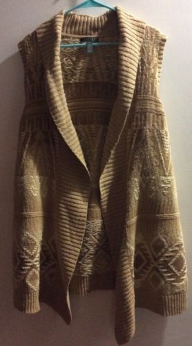 Ralph Lauren Authentic Plus Size 2X Southwest Long Open Tie Front Sweater Vest image 4