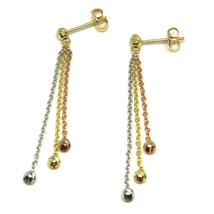 Drop Earrings White Rose Yellow Gold 750 18K, Three Wires, Ball Faceted image 1