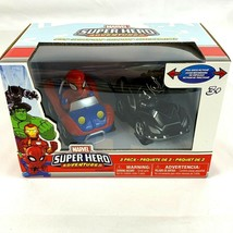 Marvel Super Hero Adventures 2 Pack Pull Back Cars Spiderman Black Panther - $19.28