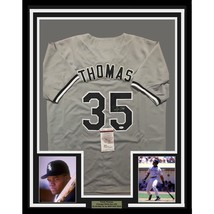 FRAMED Autographed/Signed FRANK THOMAS 33x42 Chicago Grey Jersey JSA COA... - $399.99