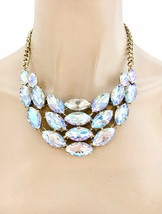 Bib Statement Necklace Earrings Aurora Borealis Crystals Drag Pageant, Bridal - $34.15