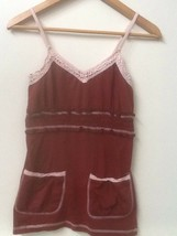Abercrombie Fitch Womens Rust Red Tank Top with Crochet detail Size S Small - $9.95