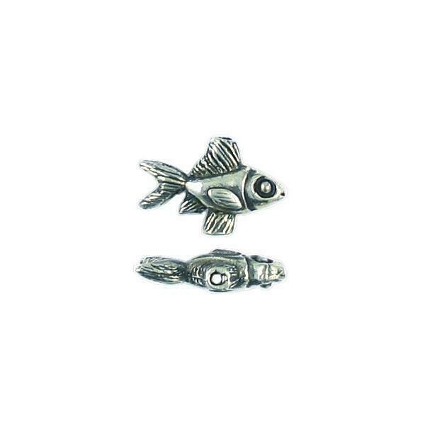 FISH FINE PEWTER BEAD - 12x17x5mm - Hole 1.5mm