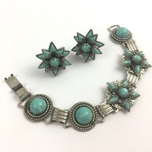 Vintage Cabochon Bracelet Screw Back Earrings Set Faux Turquoise Link Bo... - $25.21