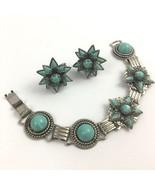 Vintage Cabochon Bracelet Screw Back Earrings Set Faux Turquoise Link Bo... - $25.21