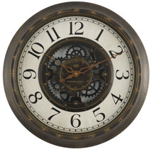 "Gears 16"" Large Brushed Oil Rubbed Bronze Wall Round Wall Clock, Quartz ... - $23.65"