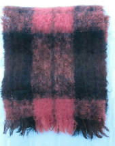 GLENTANA ALL MOHAIR PILE and WOOL SCARF Made in SCOTLAND PINK BLACK PLAID - $23.74