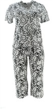 HUE 2-Pc Capri Pant Sleepwear Set BLACK M NEW 658-828 - $37.60